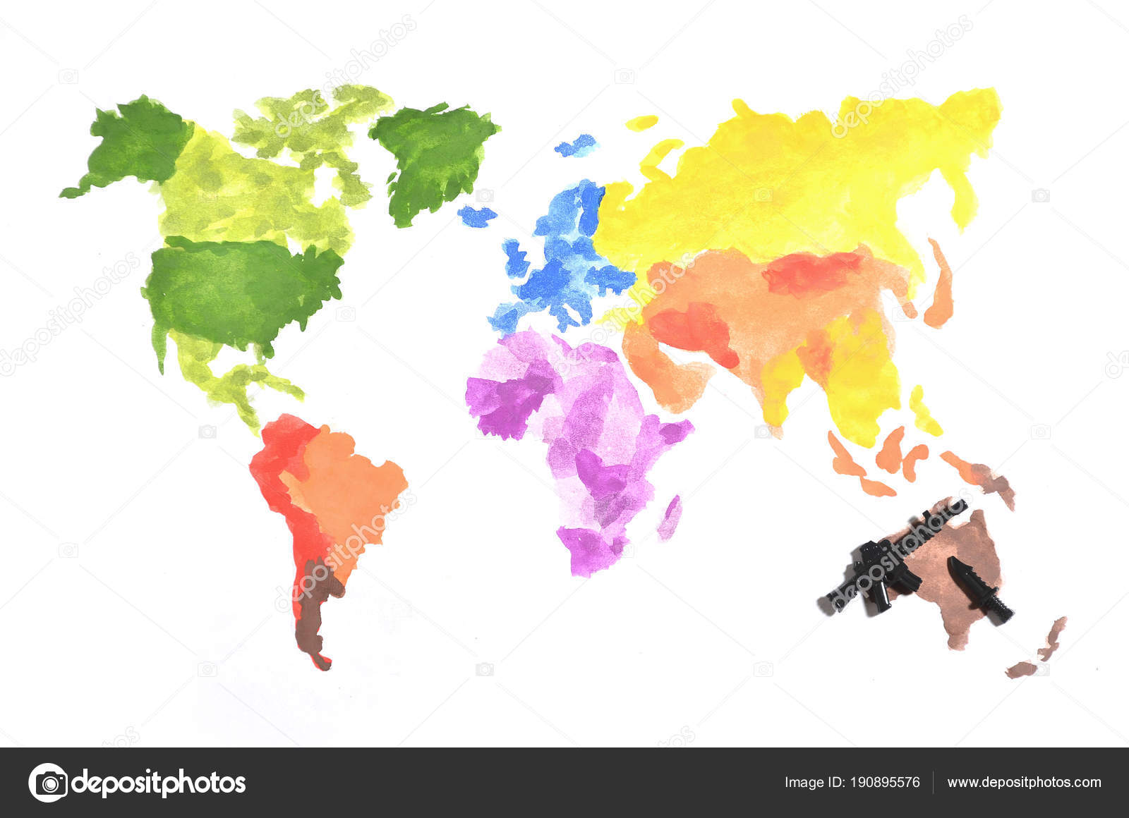 World map made colored watercolor paints white paper participation world map made colored watercolor paints white paper participation black stock photo gumiabroncs Image collections