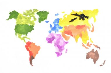 The world map is made with colored watercolor paints on white paper with the participation of a black toy gun and a knife. The concept of military operations in Russia
