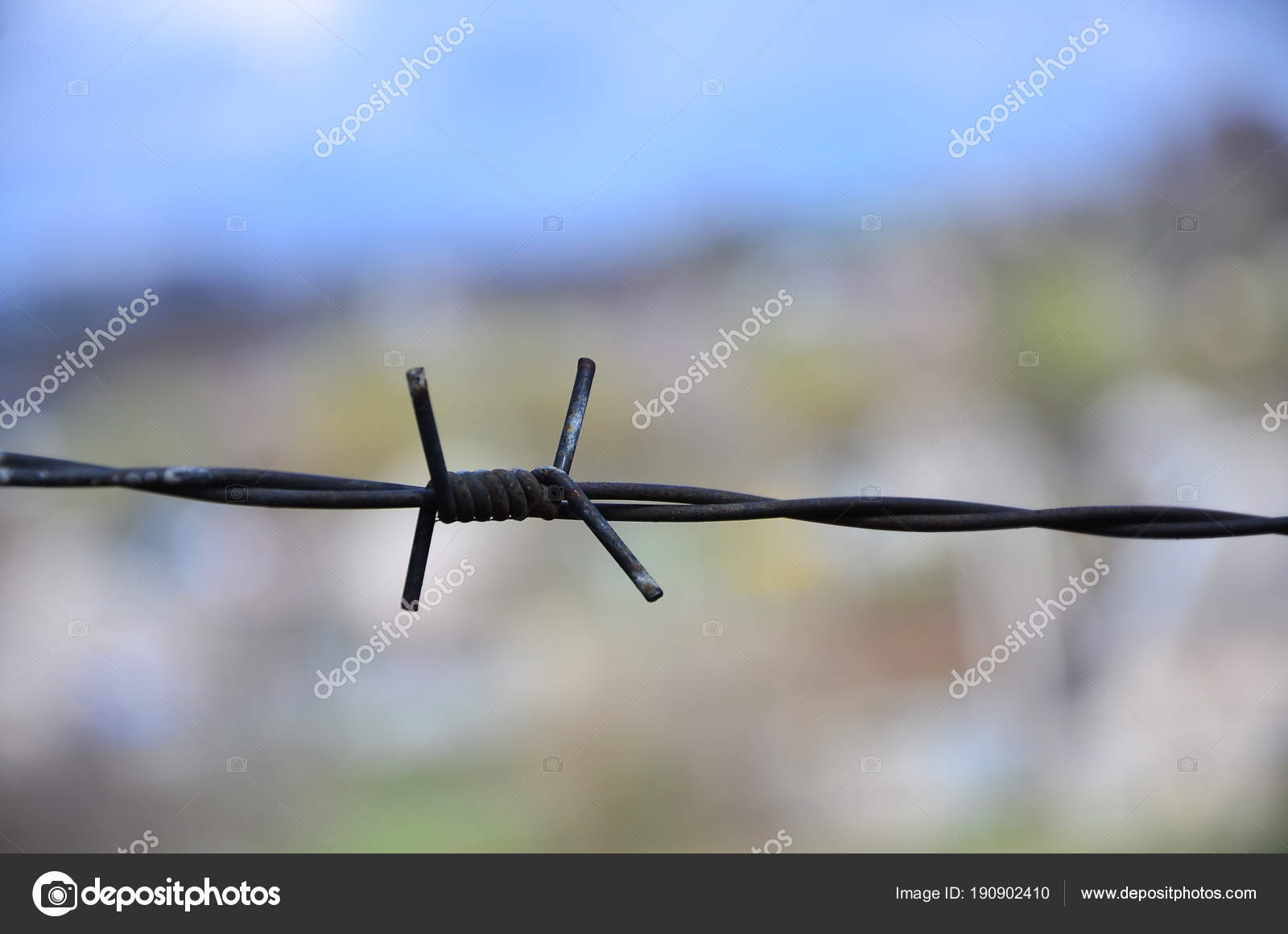 Macro Shot Element Old Rusty Barbed Wire Blurred Background Fragment ...