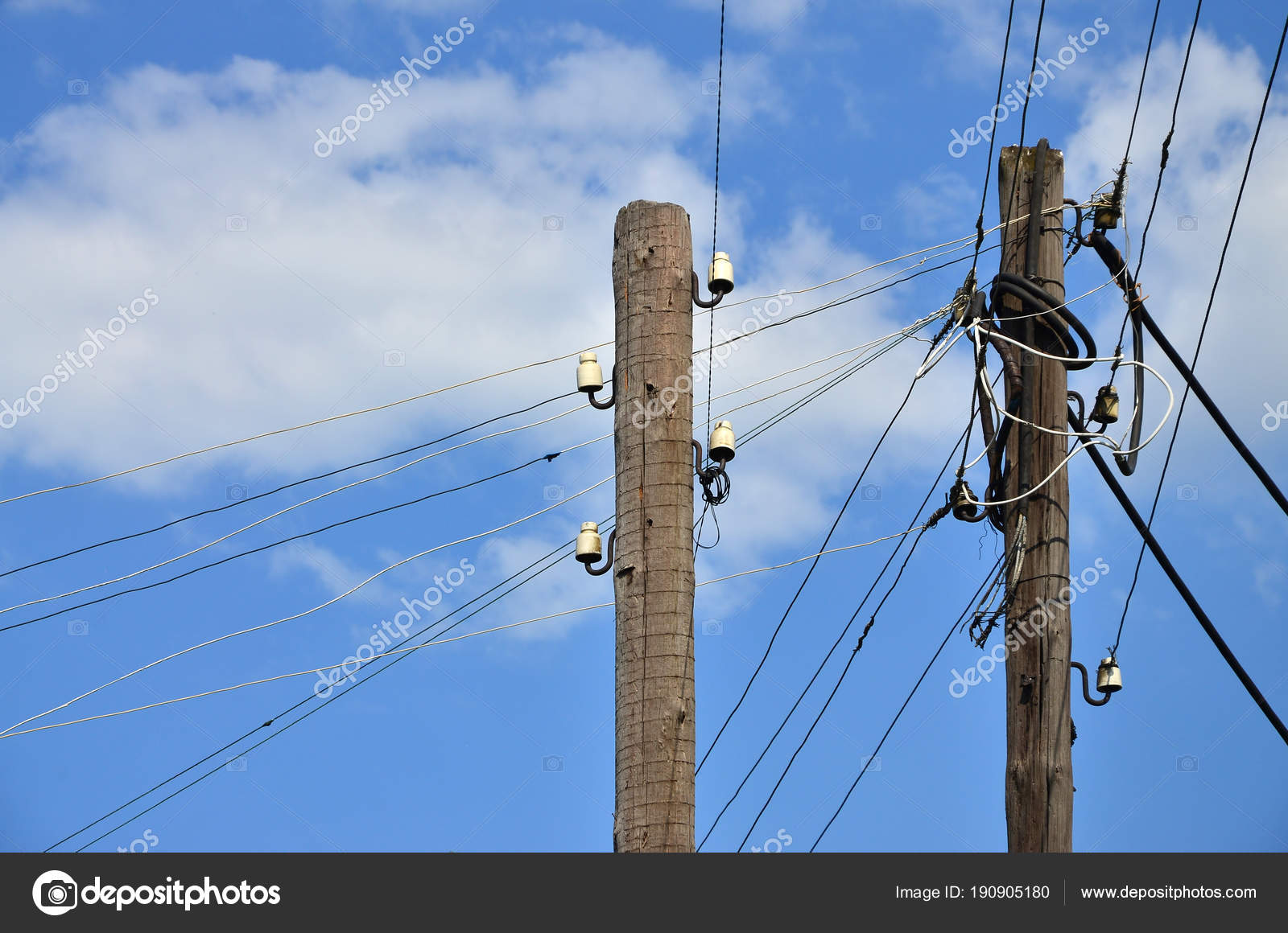 Wired Electric | Old Wooden Electric Pole Transmission Wired Electricity Background