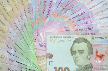 A close-up photograph of a lot of Ukrainian money lying arranged in the form of a fan. Background image on business in Ukraine