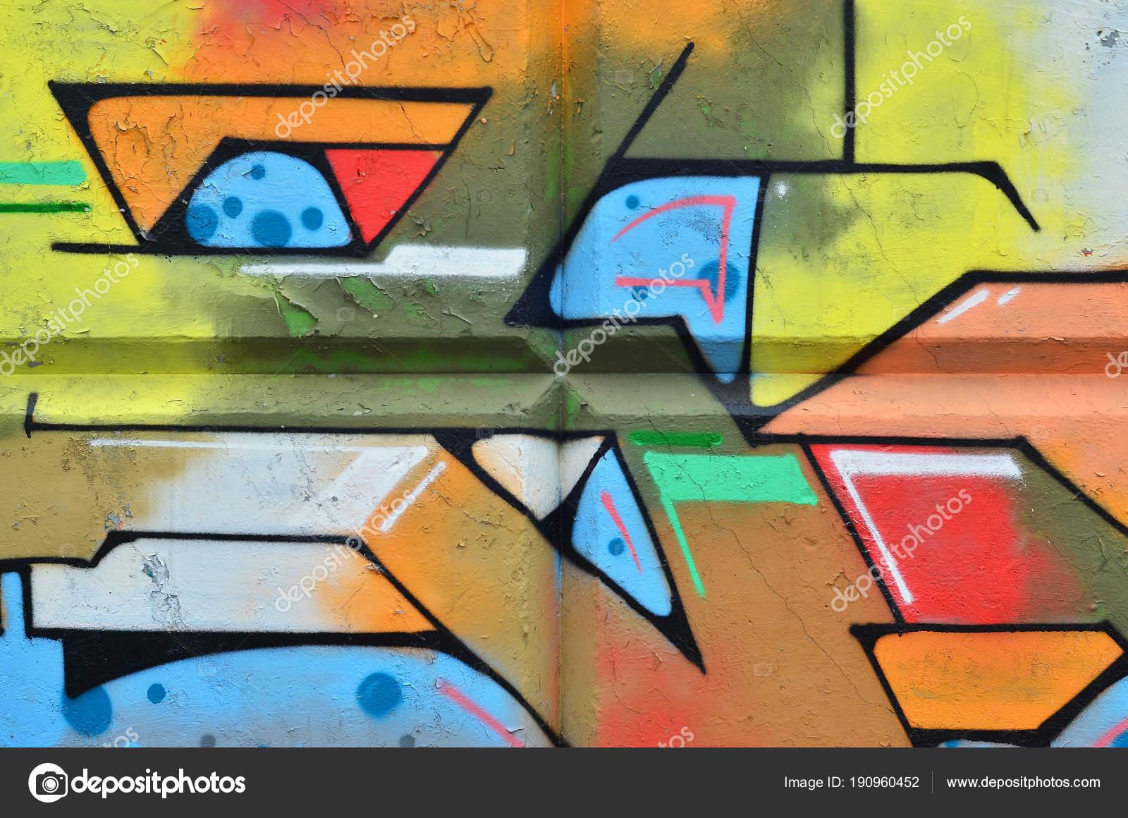 Multicolored Graffiti Old Concrete Wall Beautiful Form