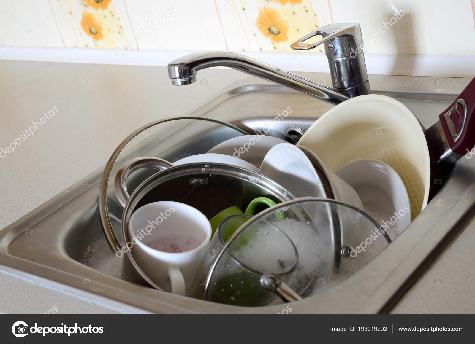 Dirty Dishes Unwashed Kitchen Appliances Filled Kitchen Sink ...