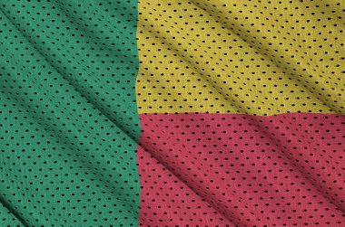 Benin flag printed on a polyester nylon sportswear mesh fabric with some folds