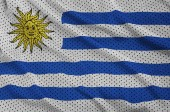 Fotografia Bandiera Uruguay stampato su un tessuto di maglia di poliestere nylon sportswear con alcune pieghe