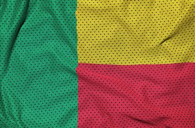 Benin flag printed on a polyester nylon sportswear mesh fabric w