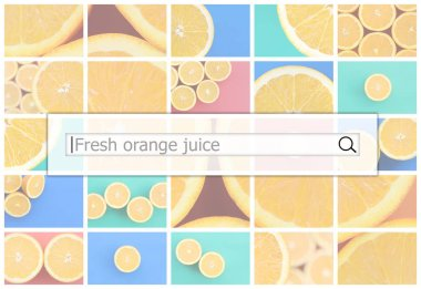 Visualization of the search bar on the background of a collage of many pictures with juicy oranges. Fresh orange juice