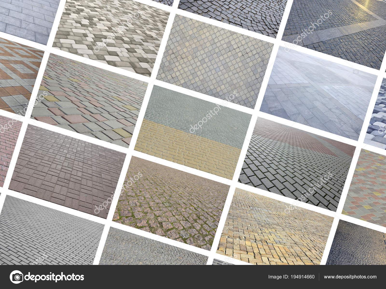 Collage molte immagini con frammenti pavimentazione piastrelle close