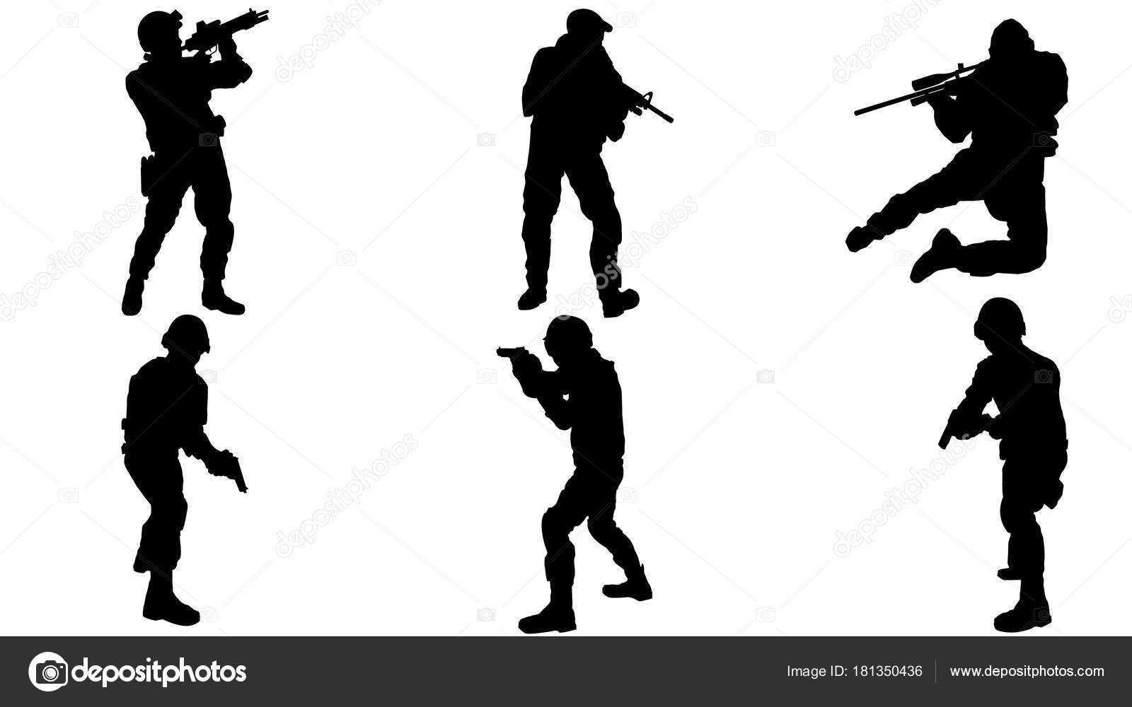 set army silhouette stock vector c miloskontra 181350436 https depositphotos com 181350436 stock illustration set army silhouette html