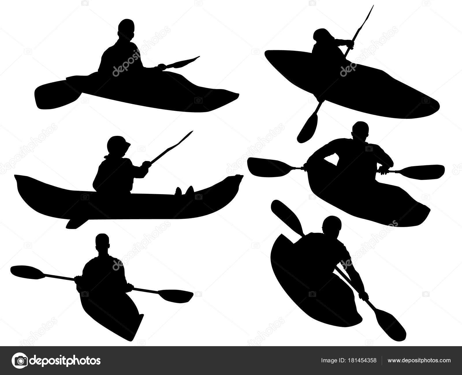 Set Kayaking Silhouette Stock Vector
