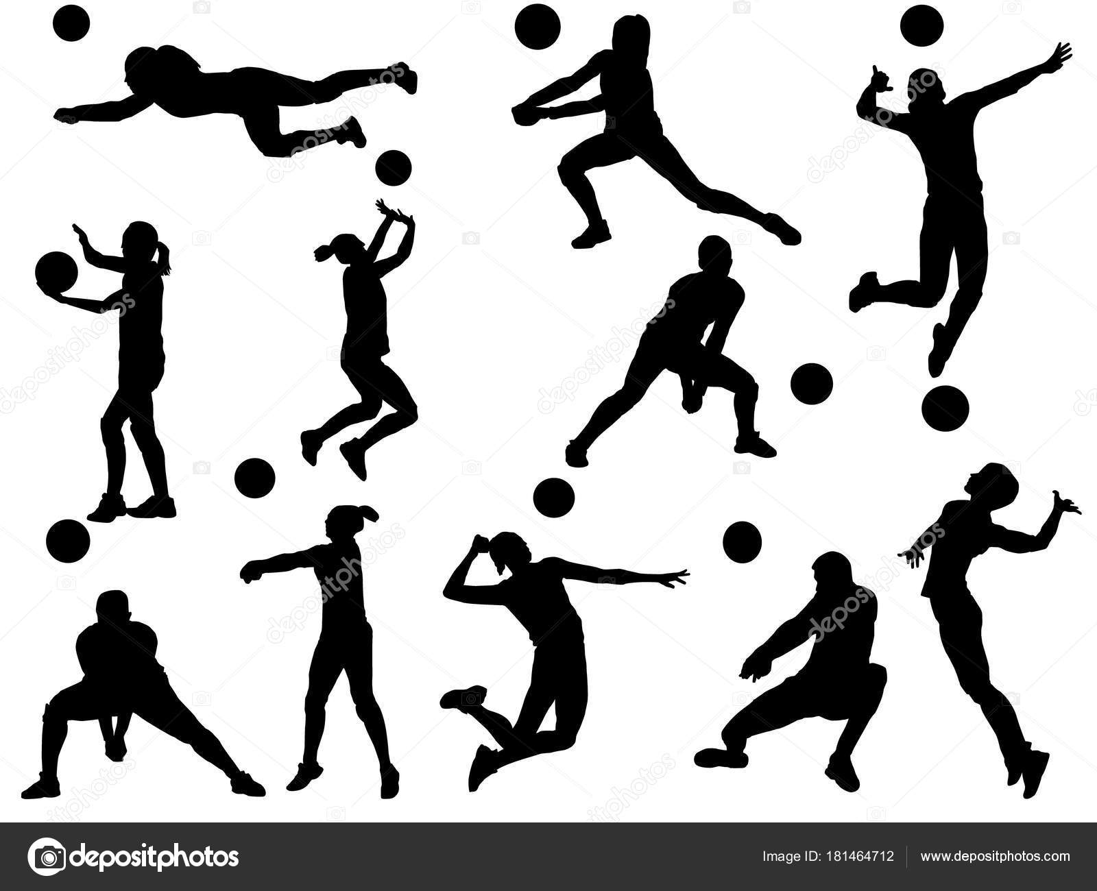 Illustration Abstract Volleyball Player Silhouette: Vector De Stock © Miloskontra