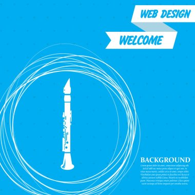 Clarinet icon on a blue background with abstract circles around and place for your text. Vector