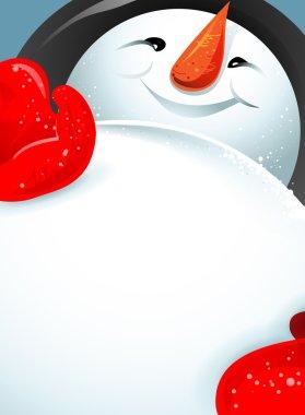 beautiful cheerful snowman.