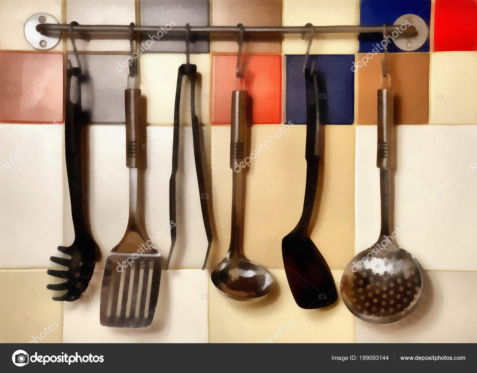 Digital Painting - utensili da cucina appeso su un colorato ...