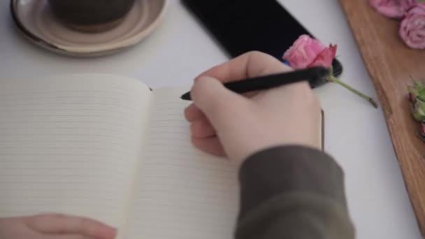 Holčičí ruka píše Miluji tě v zápisníku, který je na bílém stole vedle šálku kávy a telefonu