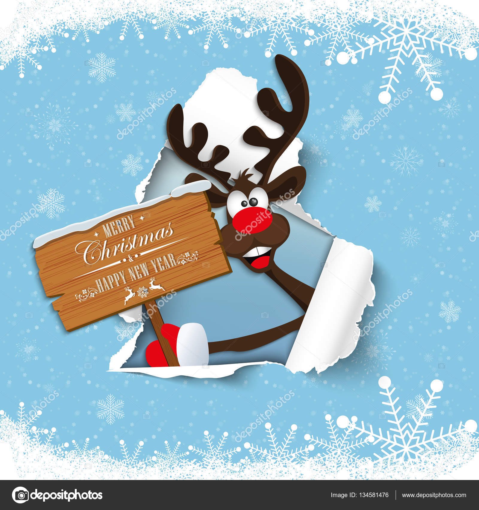 Frohe Weihnachten Lustige Bilder.Frohes Neues Jahr Und Frohe Weihnachten Lustige Rentiere