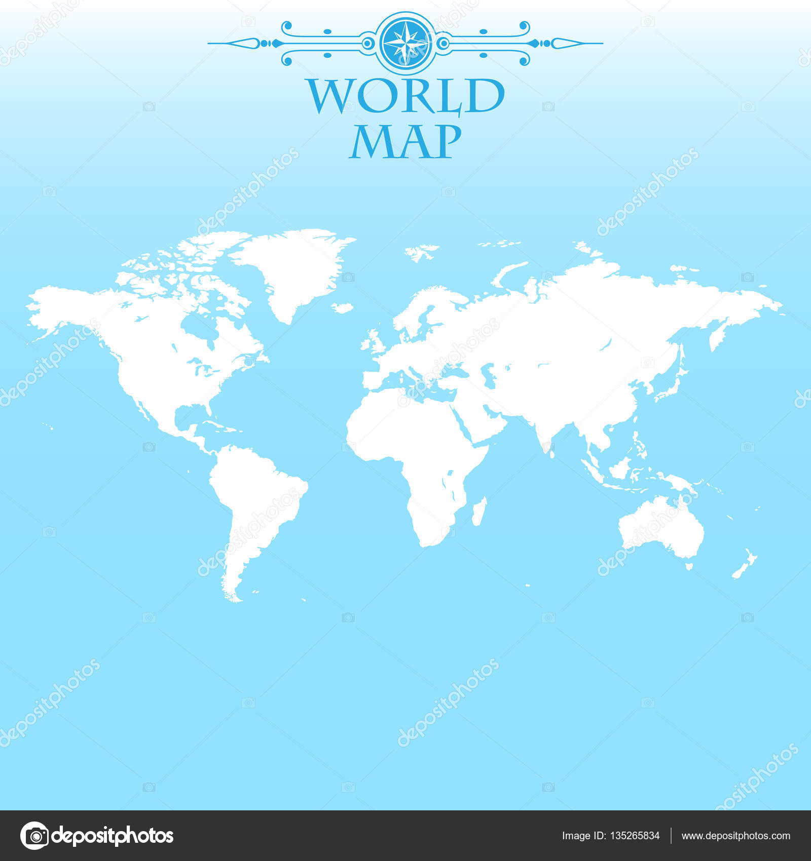 World Map On A Blue Background And Vintage Label Stock Vector