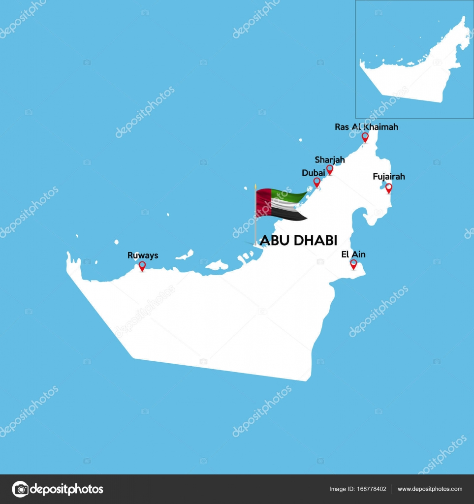 a detailed map of united arab emirates with indexes of major cities of the country national flag of the state vector illustration vector by angelmax
