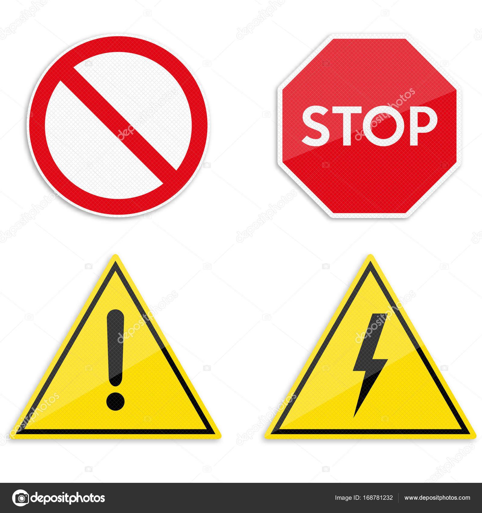2616373aa3255 Conjunto de señales de advertencia y prohibición — Archivo Imágenes ...