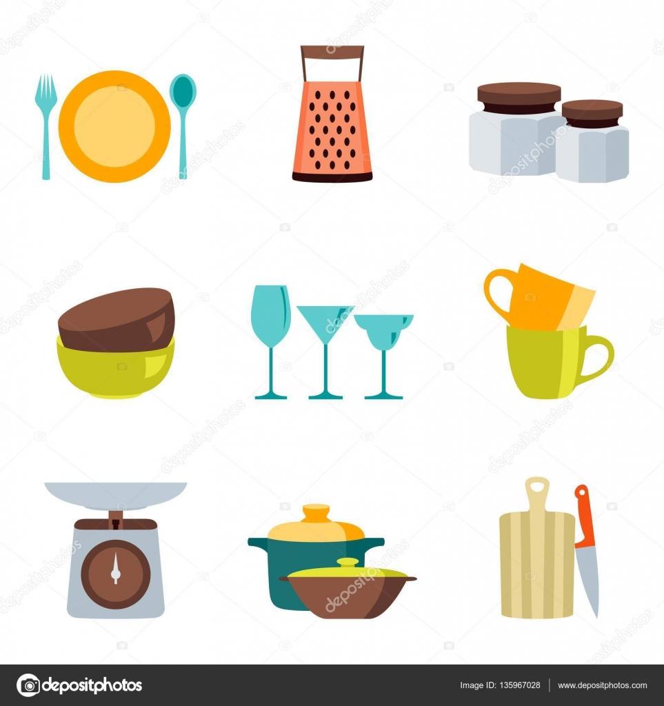 Utensili da cucina design piatto colore icone vettoriali insieme ...