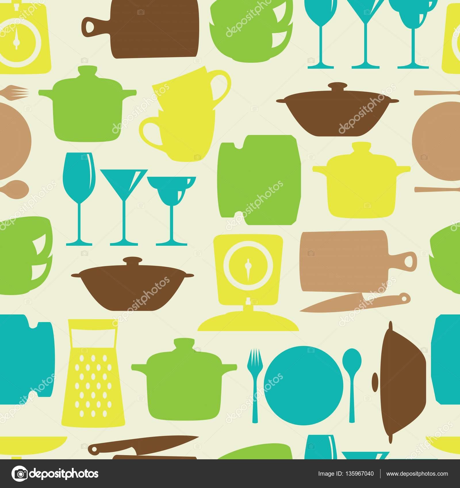 Color plano de utensilios de cocina de diseño silueta vector de ...