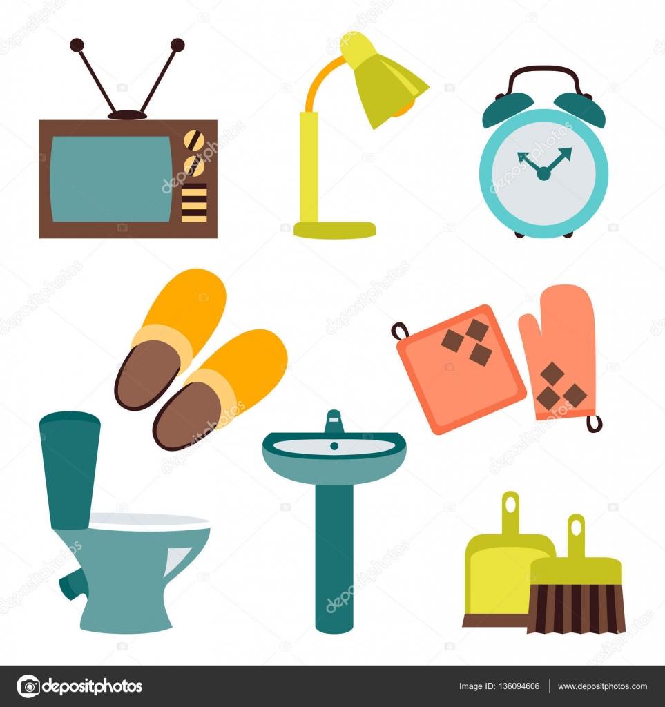 Conjunto de vectores de iconos planos de dise o de for Accesorios de hogar