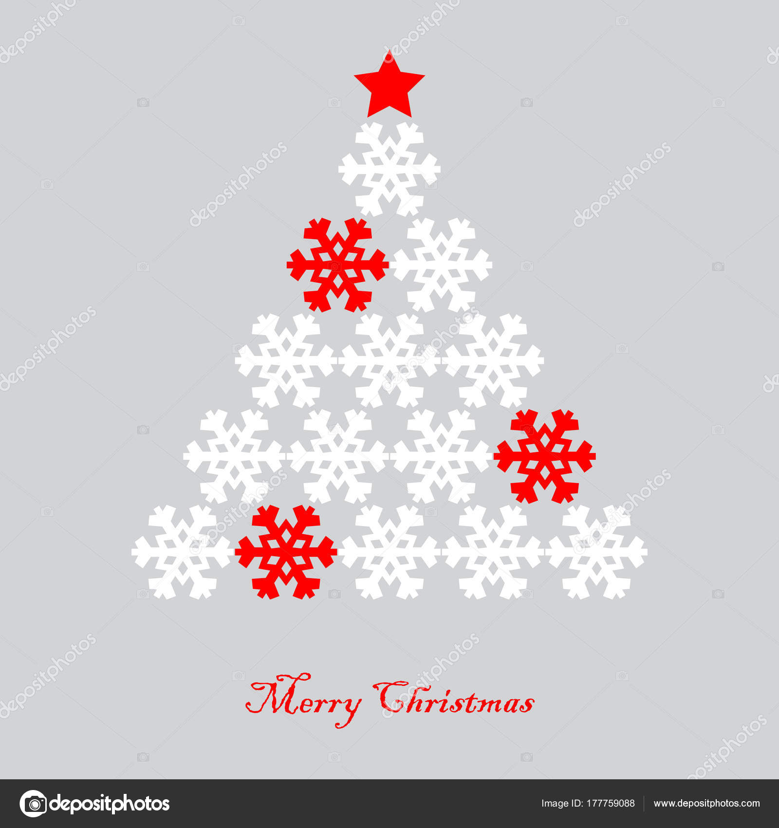 Vector illustration of Christmas tree isolated on color background ...