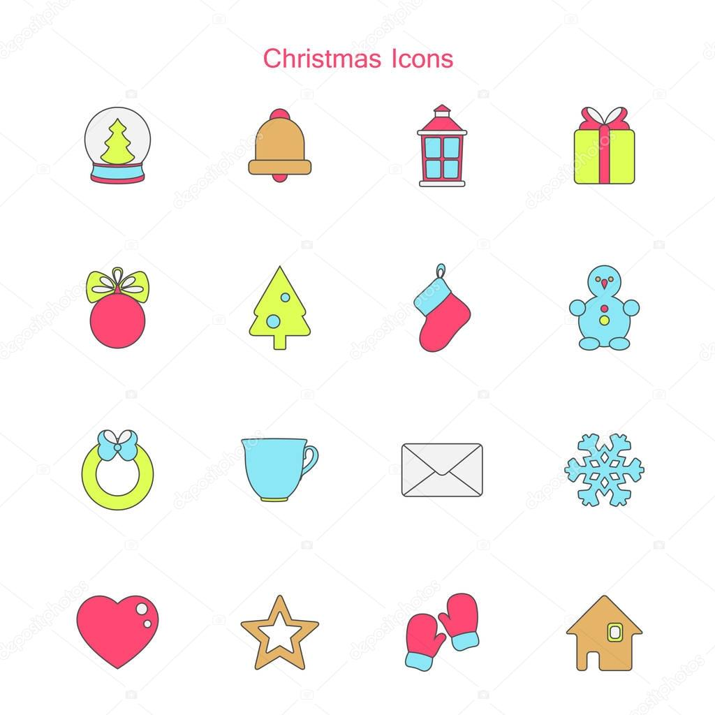 Vector illustration of christmas icons set