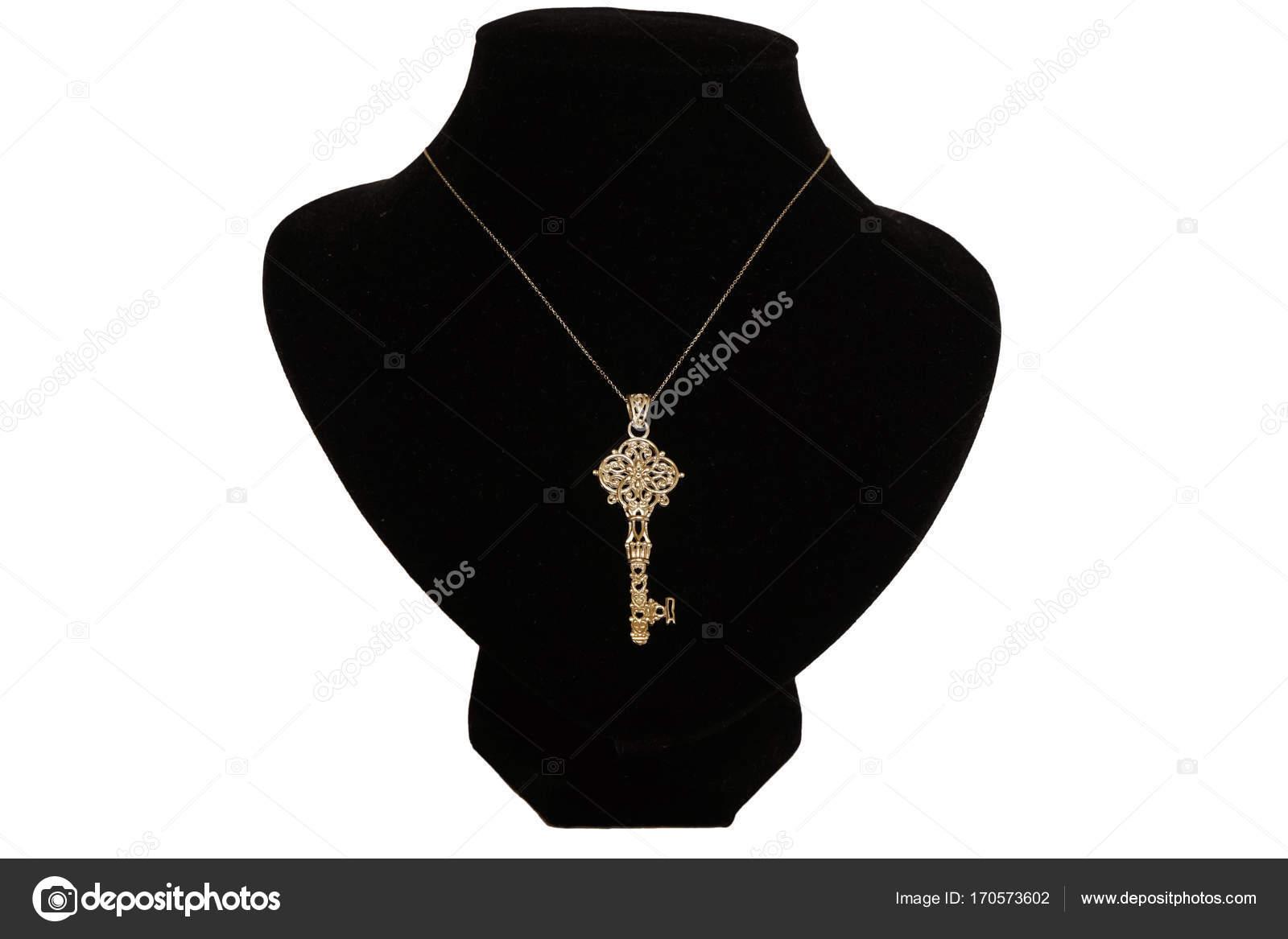 80689286e102 Antike, orientalische, türkische gold Schmuck Damen Kette mit Anhänger auf  weißem Hintergrund — Foto von shain55