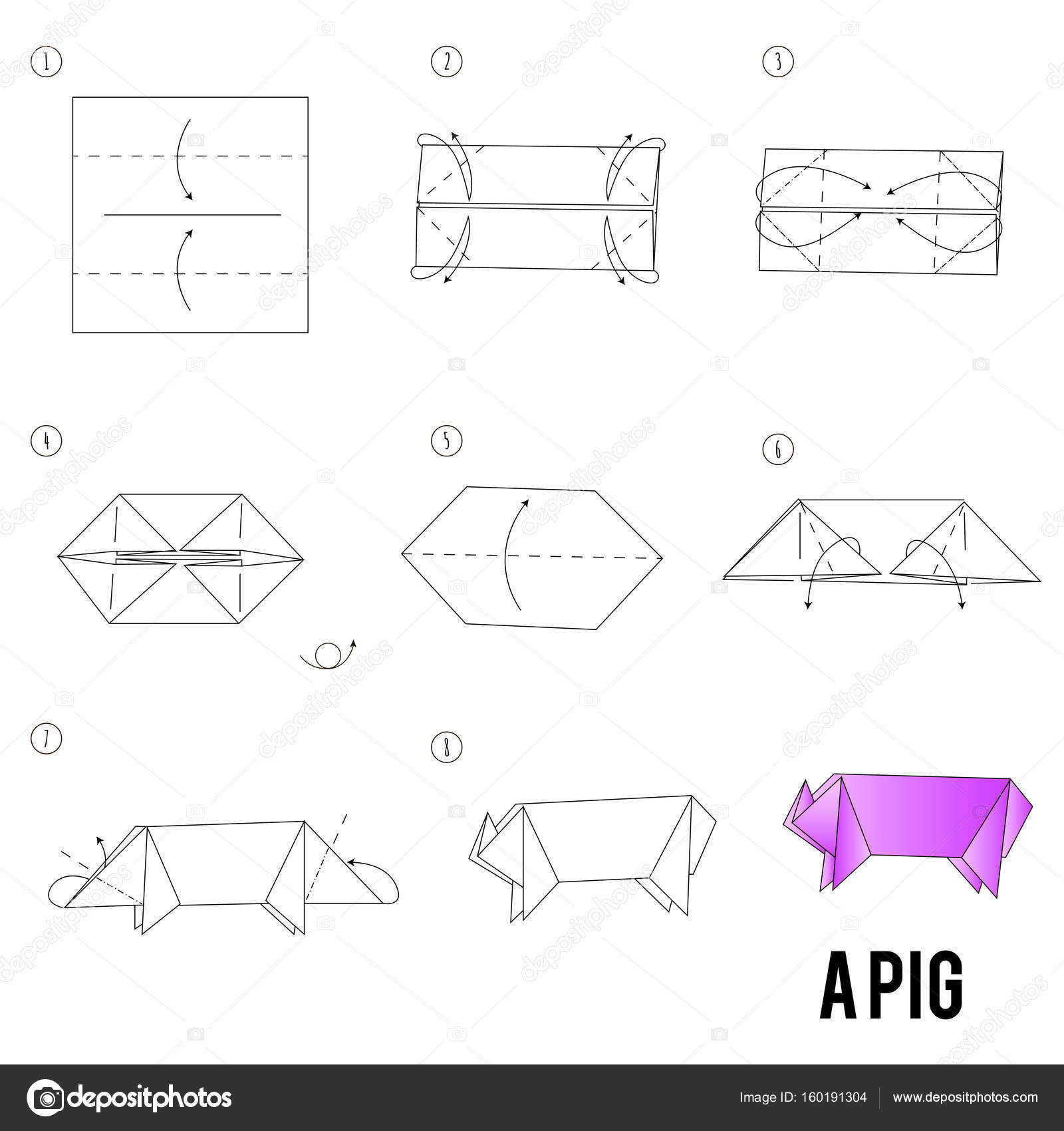 Step by step instructions how to make origami a bird stock step by step instructions how to make origami a pig vector by irisimkayandex pooptronica