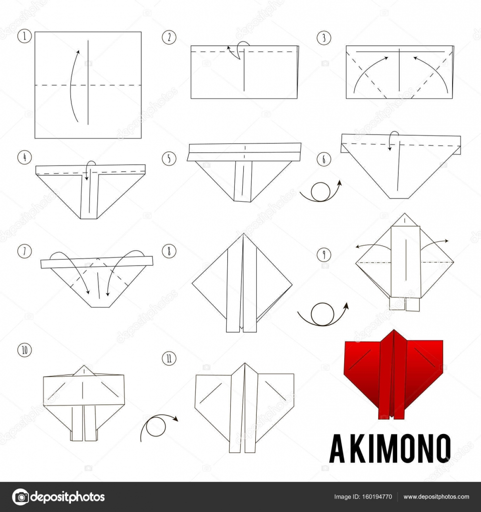 Step By Instructions How To Make Origami A Bird Stock Vector
