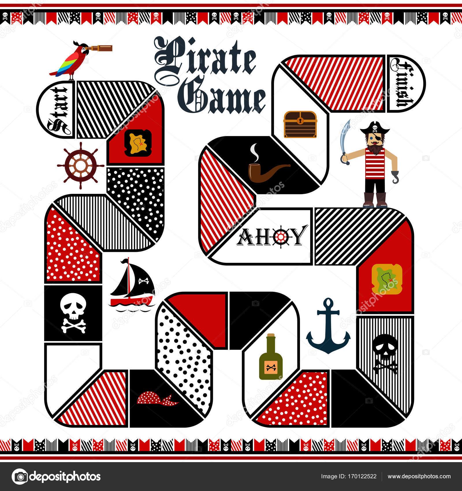 Flache Vektorgrafik Kinder Piraten Brettspiel Vorlage — Stockvektor ...