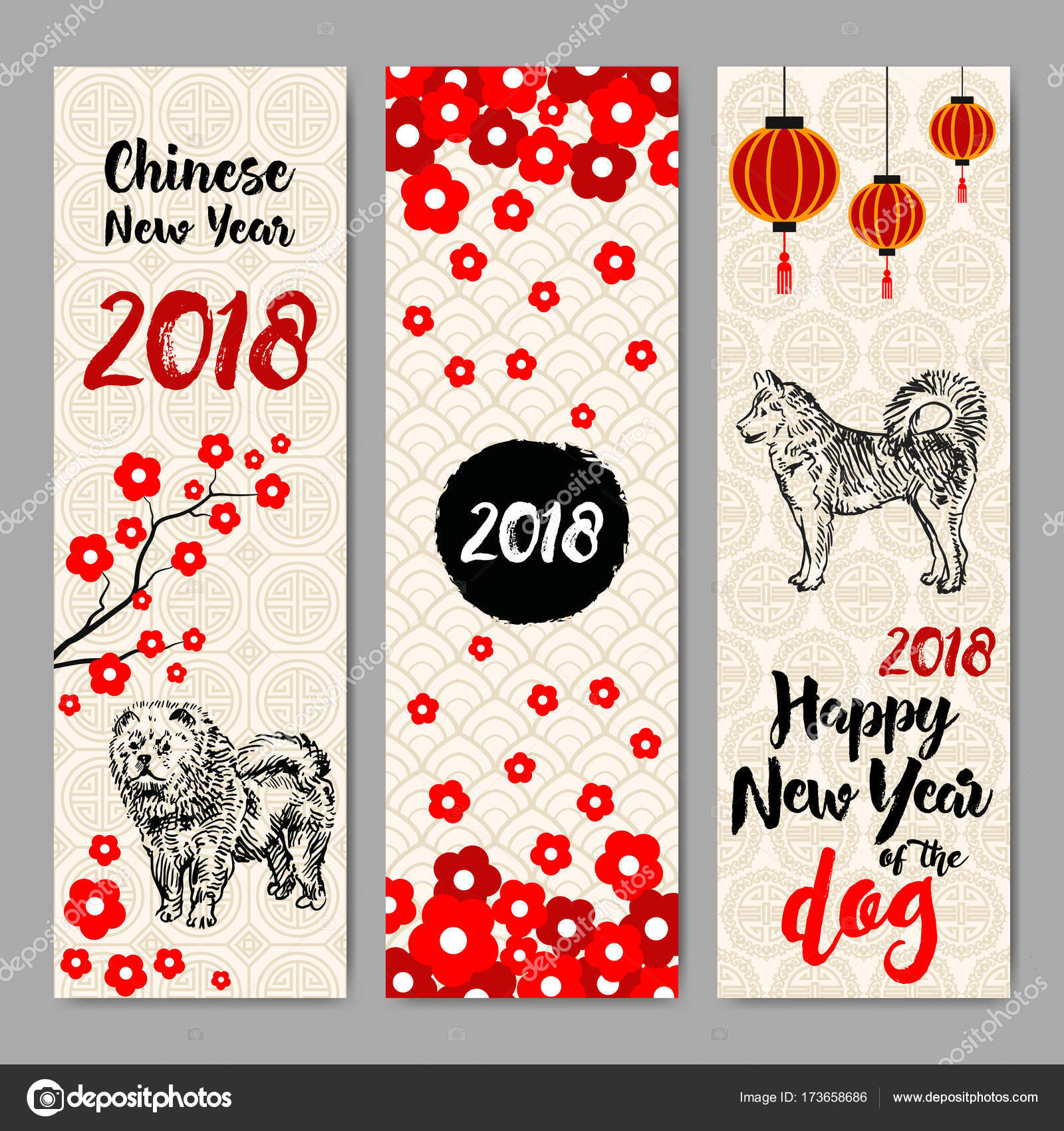 vertical banners set with chinese new year 2018 hand drawn dogs vector by irisimkayandexru