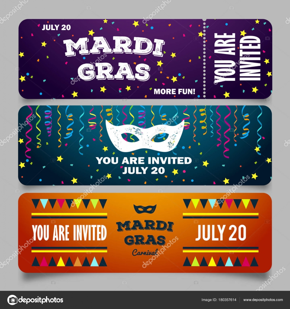 Mardi gras brochures vector logo with hand drawn lettering and mardi gras brochures vector logo with fat tuesday symbols greeting cards with carnival on traditional colors background vector by irisimkayandex m4hsunfo
