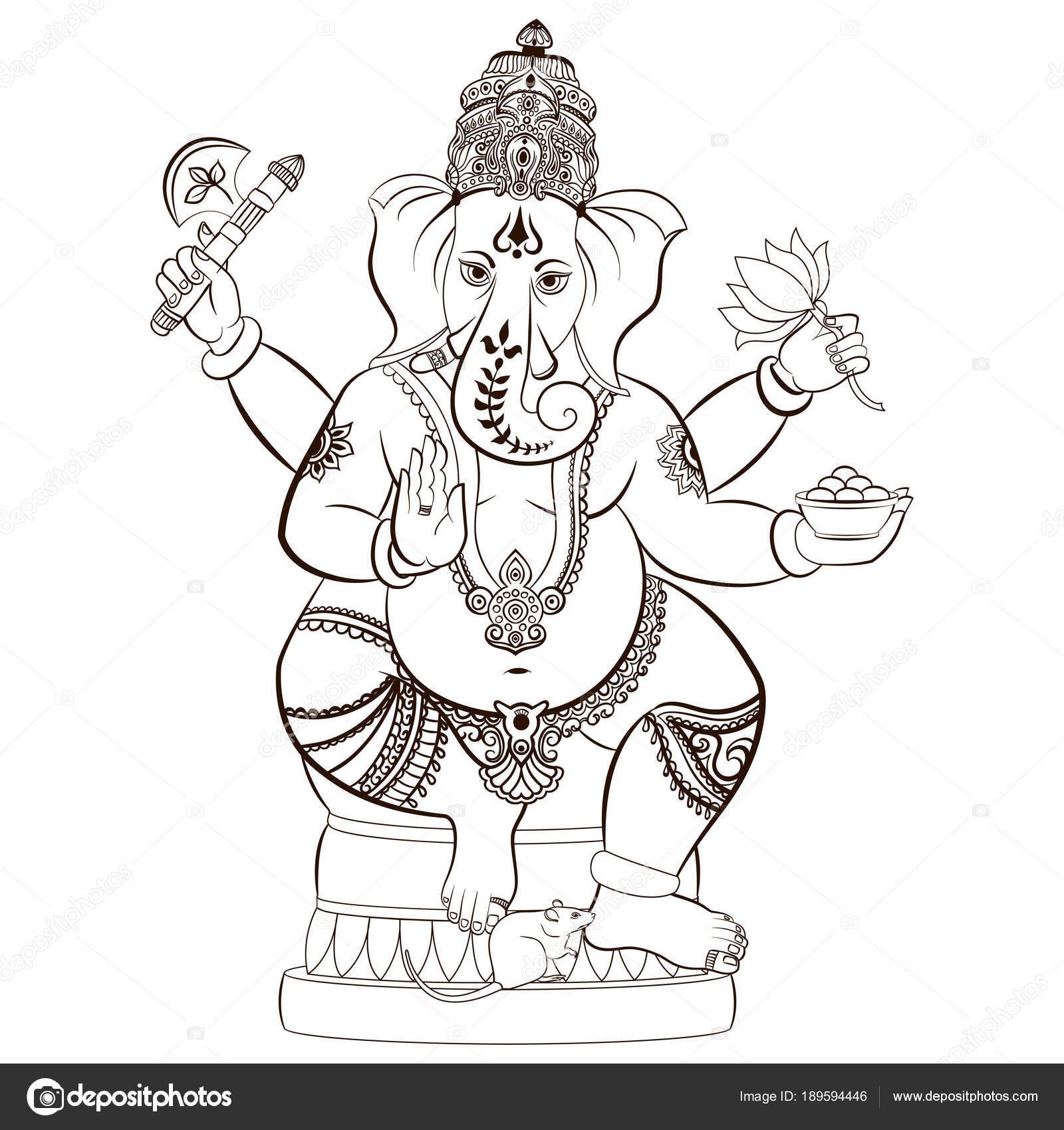 Señor hindú Ganesha — Vector de stock © irisimka.yandex.ru #189594446