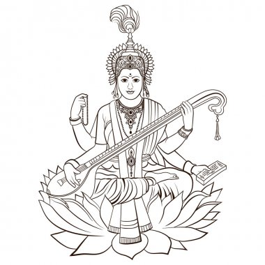 Hindu Goddess Saraswati. Vector hand drawn