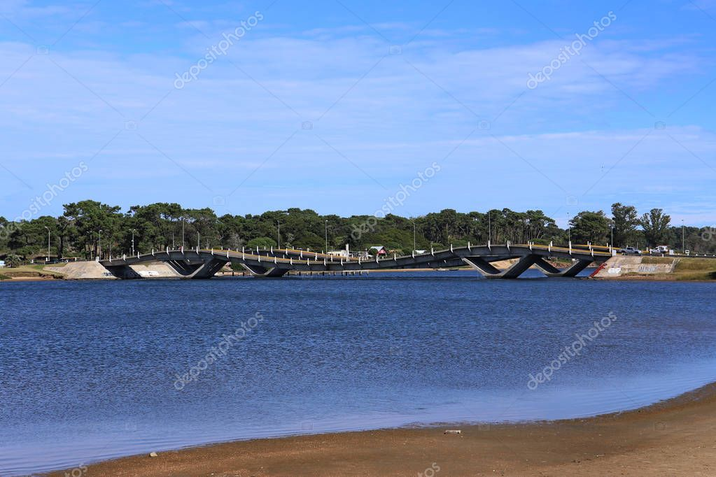 Wave form bridge in Punta del Este Uruguay