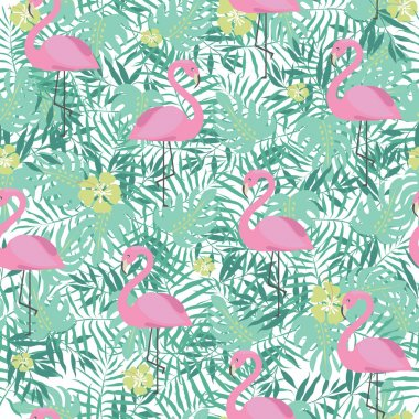 Seamless pattern with cute pink flamingo and palm leaves