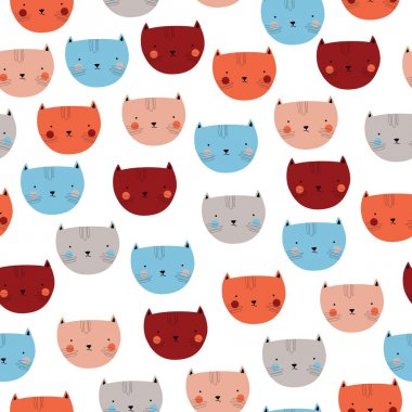 Cute seamless pattern with pastel cat heads for childish design