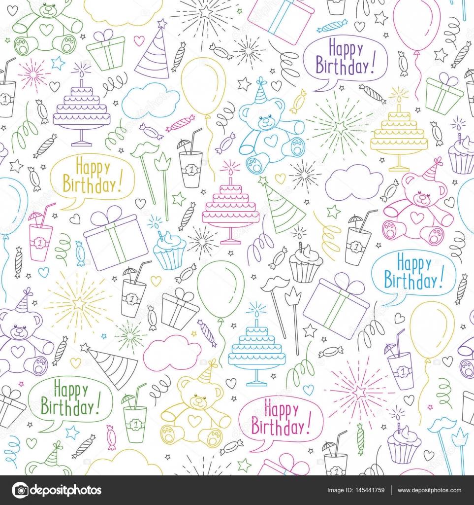 Feliz cumpleaños temáticos de patrones sin fisuras para fondos de ...