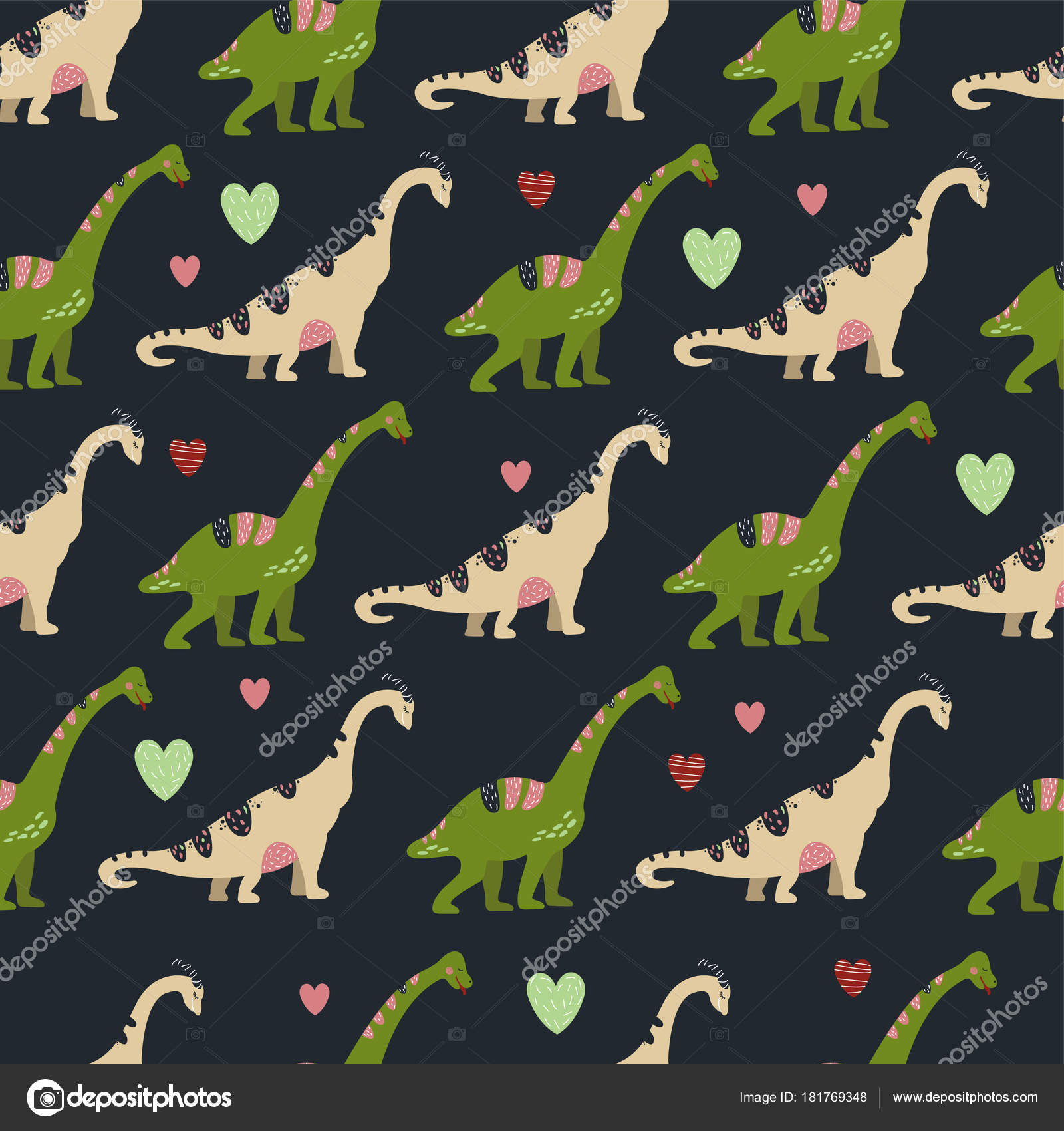Seamless Pattern Cute Dinosaurs Children Textile Wallpaper Posters Other Design Stock Vector