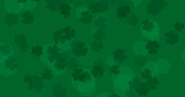 Patrick Day pozadí s padající shamrock list vzor. Na slavnostní párty v hospodě. 3D vykreslování, smyčka 4k
