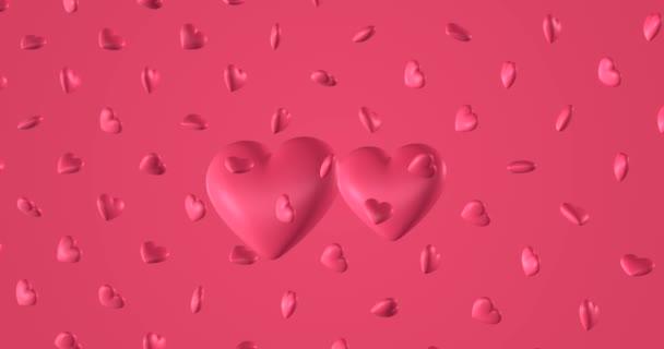 Romantikus minta firka rózsaszín szívvel. Szent Valentin napra. esküvői meghívó e-kártya. 3D renderelési hurok animáció 4k.