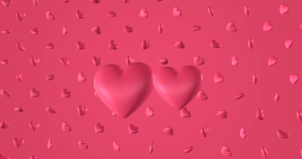 Romantický vzor s načmáranými růžovými srdci. Na svatého Valentýna. pozvánka na svatbu. 3D vykreslování smyčky animace 4k.