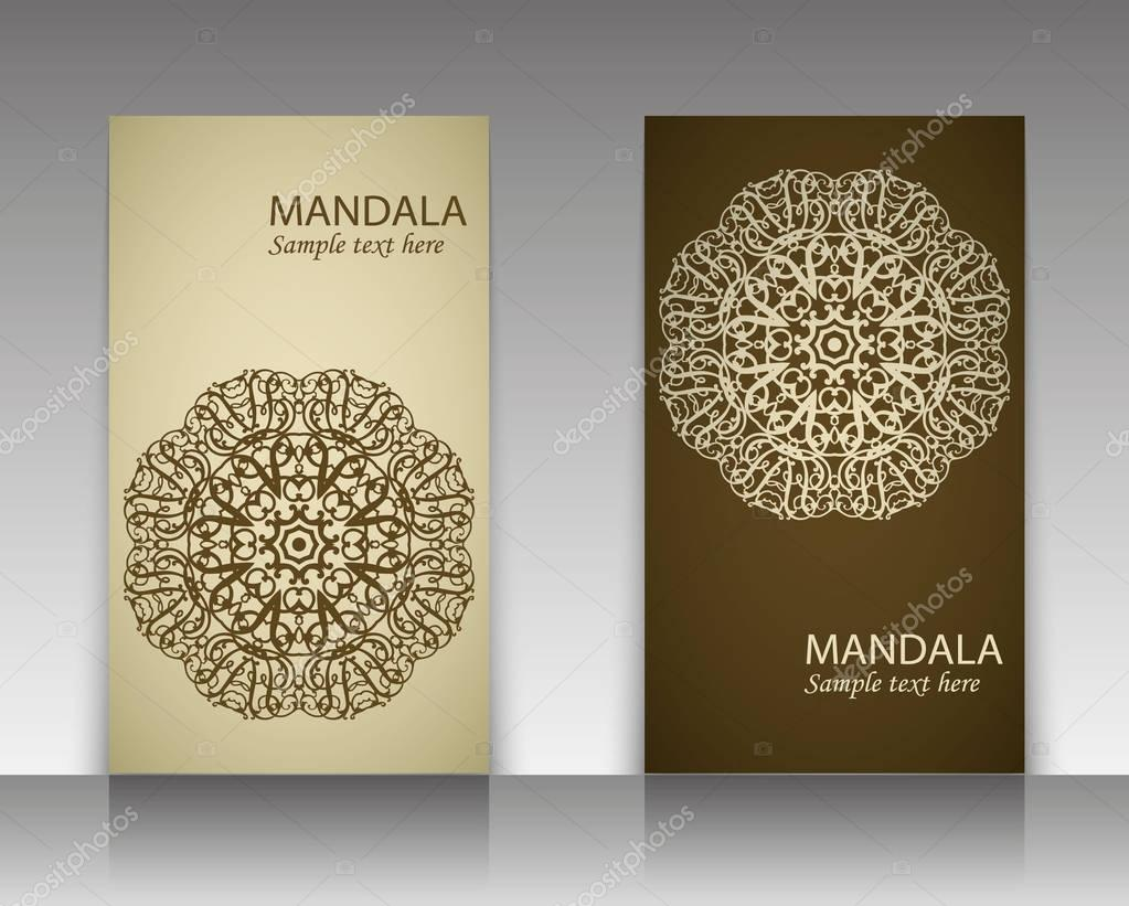 A set of leaflets, brochures, design templates. Vintage card with patterns and mandala designs. Floral decoration of Oriental style. Islam, Arabic, Indian, Ottoman motifs.
