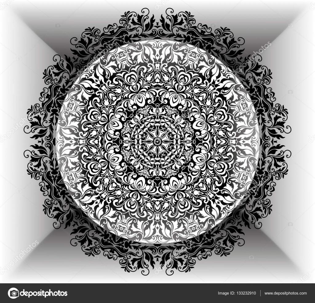 Mandala florale Muster mit Blumen und Herzen. Malvorlagen für ...