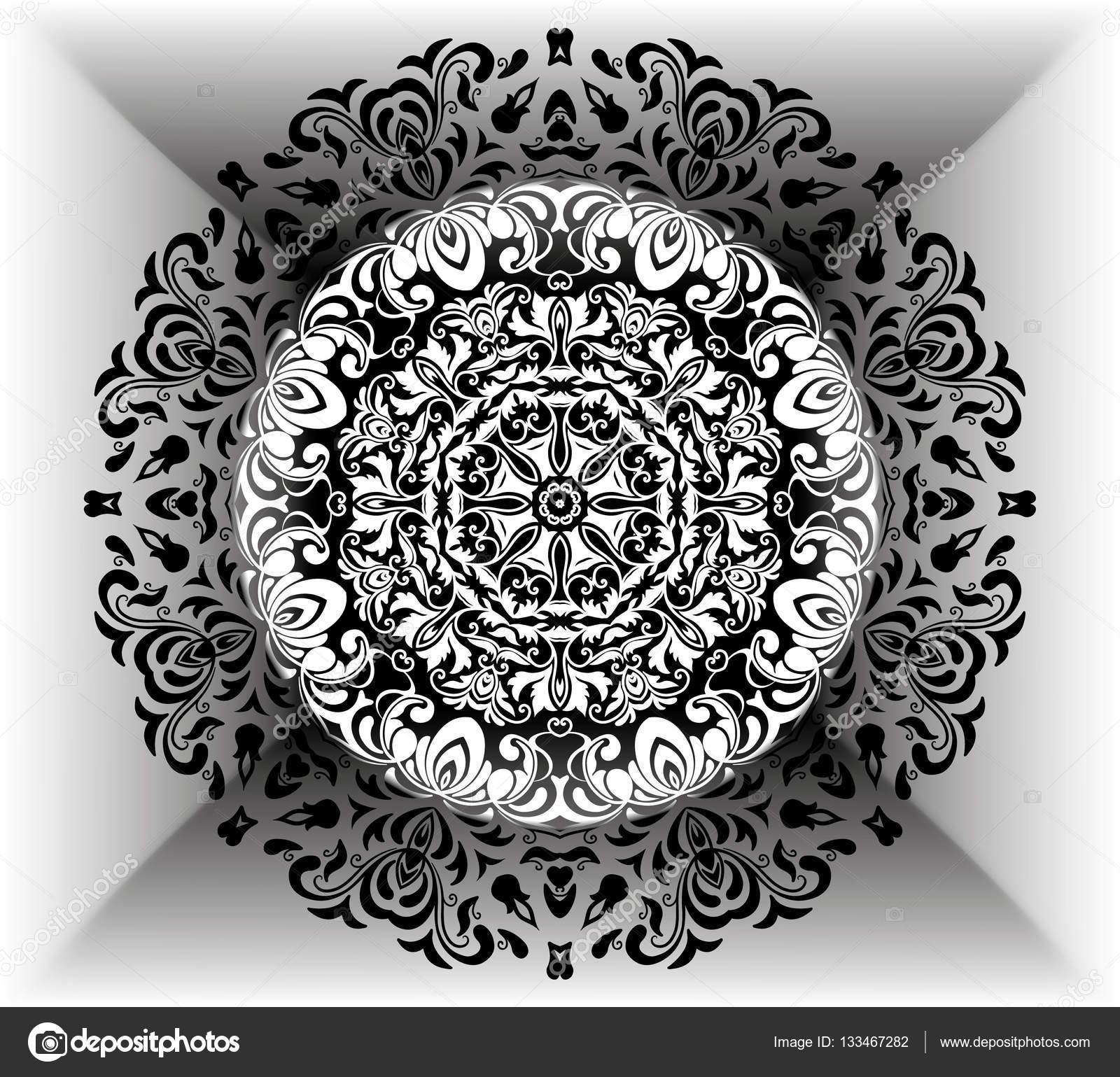 Patrón floral Mandala con flores y corazones. Para colorear páginas ...