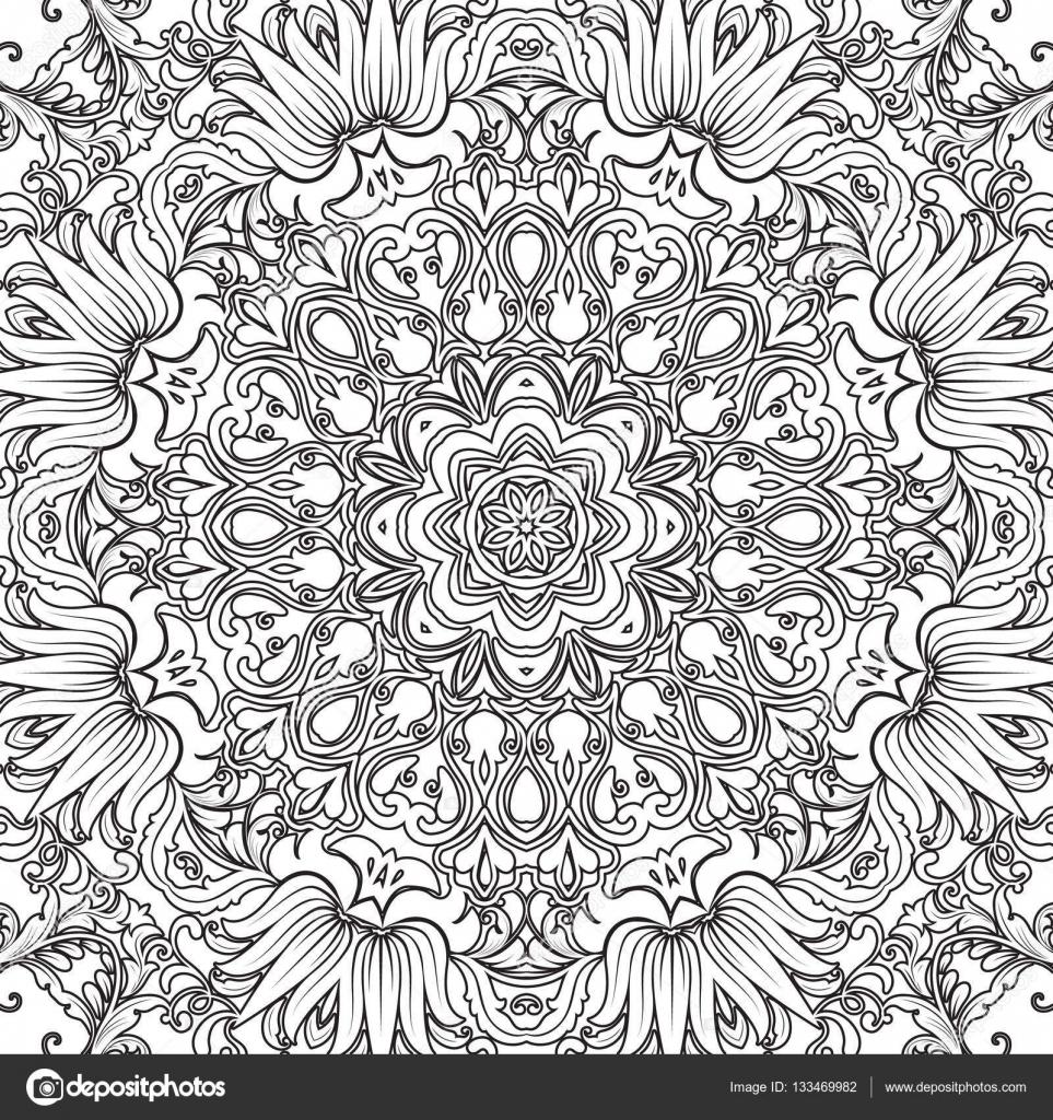 Patrón floral transparente de Mandala con flores y corazones. Para ...