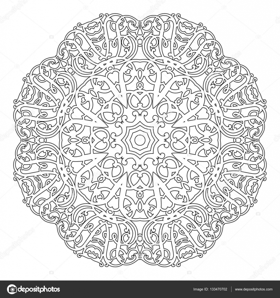 Mandala floral pattern with flowers and hearts. Coloring pages for ...