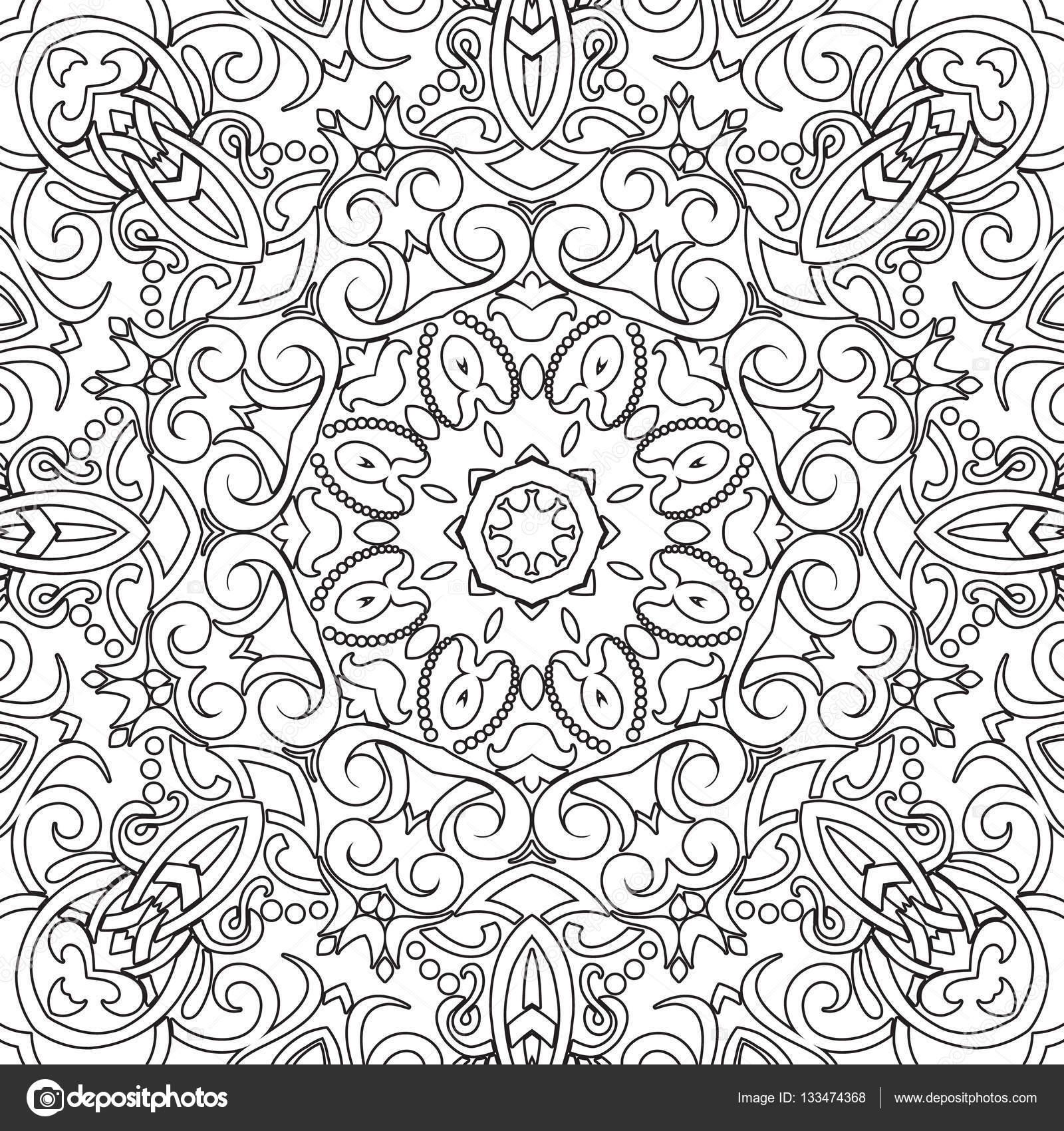 Mandala Nahtlose Floralen Muster Mit Blumen Und Herzen Malvorlagen